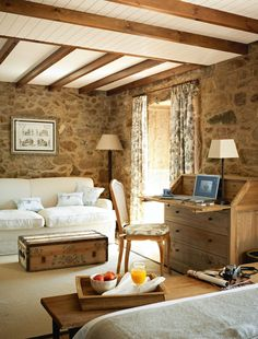 Hotel Rustico Lugar Do Cotariño located in Spain - stone interiors Stone Interior, Interior And Exterior, Interior Design, Living Area, Living Spaces, Living Room, Sweet Home, Rustic Cottage, Cottage Chic
