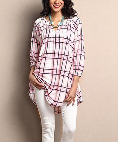 Look what I found on #zulily! Pink Plaid Notch Neck Tunic by Reborn Collection #zulilyfinds
