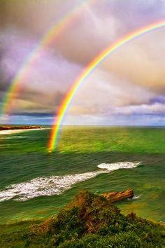 ほんとだ。よく見ると虹の色が反転してますね。