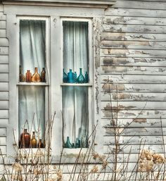 Antiques are one of my mom's favorite things. This window with the old bottles makes me instantly think of her.
