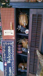 C & C Furnishings: FALL HAS ARRIVED! Primitive Autumn, Country Primitive, Primitive Decor, Fall Store Displays, Primitive Kitchen Cabinets, Primitive Bedding, Rustic Chic Decor, Autumn Display, Primitive Homes
