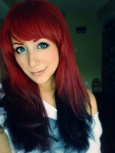 reverse red ombre hair I love red hair (: Black Hair Ombre, Ombre Hair Color, Red Hair With Black Tips, Love Hair, Great Hair, Gorgeous Hair, Reverse Ombre, Permanent Hair Dye, Pretty Hairstyles
