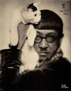 Japanese painter, Tsuguharu FUJITA (1886~1968).  Japanese Bobtail Cat