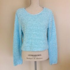 Baby blue 90s fuzzy sweater M