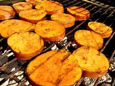 Grilled Cinnamon Sweet Potatoes - Cut sweet potato into rounds. Boil for 4-5 minutes. Pat dry and cool for 10 min. Toss with olive oil. Season one side with salt and cinnamon. Place seasoned-side down on grill, season other side and grill until tender... About 4-5 minutes on med-high heat.