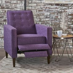 Mervynn Mid-Century Button Tufted Fabric Recliner Club Chair by Christopher Knight Home - Overstock - 15037715 - muted purple + dark espresso Living Room Chairs, Living Room Decor, Purple Living Rooms, Dining Chair, Small Living, Living Spaces, Small Recliners, Small Armchairs, Ottomans