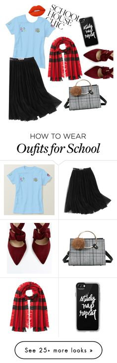 """School House Chic"" by prettyroses on Polyvore featuring Lime Crime, WithChic, Burberry and Casetify"