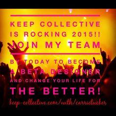 Join my team anytime, but if you join by today 1/28 you will receive extra beta phase rewards including $50 off your initial starter kit. Contact me today at facebook.com/cmtucker12, email me at backdeck7@gmail.com or sign up directly at keep-collective.com/with/carrietucker #keepcollective #joinmyteam #beyourownboss #onceinalifetime #makemoneyfromhome
