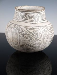 Large Anasazi Black Mesa black on white jar 1000 AD - 1100 AD in as found condition, nice shape with interlocking designs and vegital paints. 7.0 inches tall and 6.5 inches diameter.