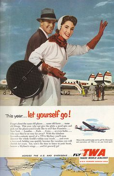 TWA poster - found on Flickr! I had a round red hatbox pc of luggage like she's carrying