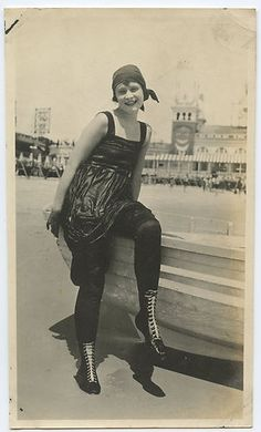 A circa 1920 photo of a young woman just out of the water at the beach at Atlantic City.