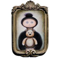 Acrylic painting 'Girl and Teddy Portrait'