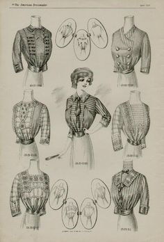 Shirtwaist Blouses, April 1912 - love how they go into that wide grosgrain or belt at waist, to emphasize slimness and the last of the S-shape