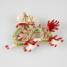 JS One Dozen Crystal Dragon Brooches (12)