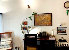 This pic is part of Anuradha Singh's Home Tour at Noida on The Keybunch decor blog - The London map and various paintings in the study are from Museums around London such as the National Gallery, Tate Modern and the Victoria Albert Museum Old Antiques, Antique Shops, London Map, Madhubani Painting, Blue Pottery, Study Areas, Safe Haven, Indian Home Decor, My Furniture