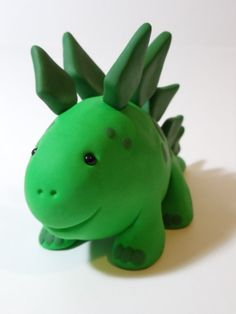 Cute Green Stegosaurus One of a Kind Polymer Clay Dinosaur. Free Shipping In United States