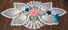 Crochet pattern for a floral and hummingbird doily with pineapples Crochet Dollies, Crochet Angels, Crochet Hats, Doily Patterns, Hummingbird Garden, Angel Ornaments, Thread Crochet, Household Items, Crochet Doilies