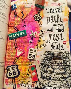 """""""Travel it's path and you will find rest for your souls."""" Jeremiah 6:16 NLT - Show me the Path my Lord. Life has many roads with twist and turns- but your trust in the Lord and he will always lead you in the right PATH. #biblejournaler #biblejournaling #inspirebible #bibleverse #biblejournalingcommunity"""