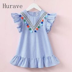 Hurave girls dress girl clothing tassel dress for girl striped robe fille ruffles kids clothing beautiful blue vestidos - Kid Shop Global - Kids & Baby Shop Online - baby & kids clothing, toys for baby & kid Little Girl Dresses, Girls Dresses, Dress Girl, Baby Dresses, Fashion Kids, Girl Fashion, Dress Fashion, Kids Summer Dresses, Dress Summer