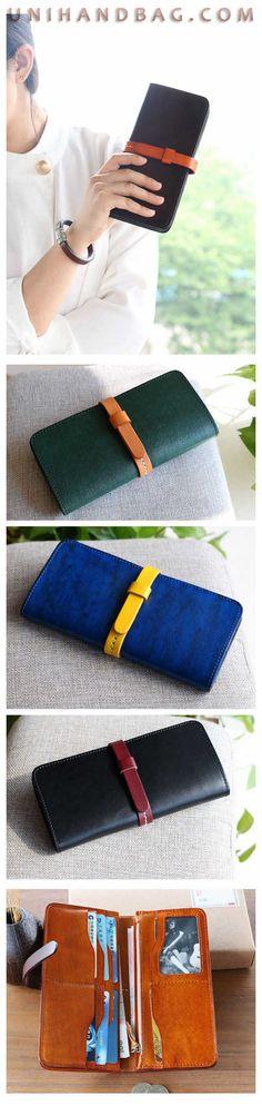 ec2dfd29906 Handmade Genuine Cowhide Leather Wallets Fashion Purse With Card Holder  Vintage Long Wallet Clutch Wrist Bag