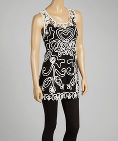 Love this Black & White Sheer Embroidered Silk-Blend Top by Pretty Angel on #zulily! #zulilyfinds