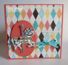 Kate Morgan, Independent Stampin Up! Fun Fold Cards, Folded Cards, Stampin Up Carousel Birthday, Carousel Cupcakes, Craftwork Cards, Kids Birthday Cards, Stamping Up Cards, Craft Work, Kids Cards