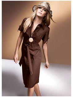 Платье в стиле сафари Fashion Line, Fashion Wear, Fashion Dresses, Womens Fashion, Boho Midi Dress, Dress Skirt, Shirt Dress, Safari Dress, Brown Dress