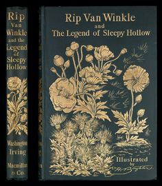 Victorian publisher's binding on Rip Van Winkle (Macmillan and Co, 1893) The cover design is unsigned, but it was possibly George Henry Boughton (1833-1905), illustrator of book. Boughton was born in Norwich, England, moving at the age of three to Albany, New York. In 1862 he returned permanently to England (London) and over the next 42 years he exhibited 87 pieces at the Royal Academy. He illustrated several works by American writers, including this work by Washington Irving.