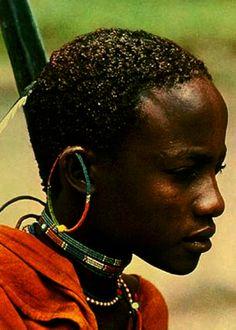 """Africa   A young Massai.  Kenya    © Photographer E Schultess.  Cover image from the publication """"Afrique - Désert, Steppe, Forêt Vierge, Maison Africaine, Vie Culture Et Civilisation""""  Author Dr Egli Emile"""