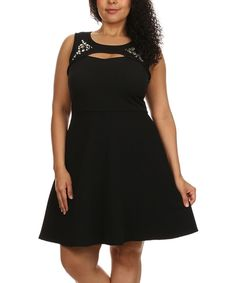 Status Array Black Embellished Fit & Flare Dress - Plus on #zulily