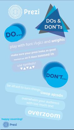 A few tips and tricks for making a successful prezi-- the DOs and DON'Ts!