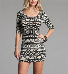 Black/White Tribal Print Mini Dresses