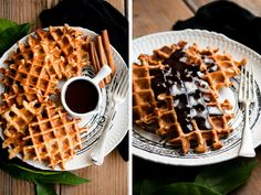 Orange cinnamon Belgian waffles with dark chocolate hot fudge / Desserts for Breakfast