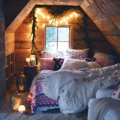 Cozy! Love the built-in nooks and the log nightstand!