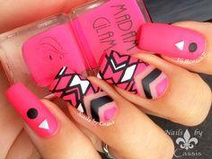 Nails by Cassis: Neon Pink Geometrics Mani Featuring Madam Glam 'Be My Baby' #nails #nailart #nailstamping #madamglam