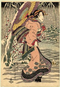 Eisen Date: ca.1830 Size/Format: Oban Tate-e (10.5 by 15 ins) Description: A young lady stands by a tree on the bank of a river in deep winter. Series: Not Indicated Publisher: Wakasa-ya Yoichi