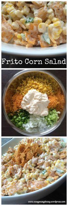 Perfect Potluck Salad Frito Corn Salad is great for potlucks, BBQ, and parties.Frito Corn Salad is great for potlucks, BBQ, and parties. Potluck Recipes, Side Dish Recipes, Summer Recipes, Mexican Food Recipes, Cooking Recipes, Healthy Recipes, Potluck Ideas, Potluck Side Dishes, Cold Side Dishes