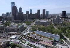 The Barnes Foundation´s new home on the Parkway (foreground) . City officials see great potential to boost city tourism and development with the Barnes´ move from Merion.