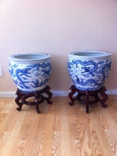 2  Porcelain Collectible Asian planter  with Wooden Pedestals. / blue and white Asian Vase by LoreNovedades on Etsy