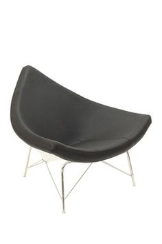 Chinese Hat Genuine Leather Chair -  Black