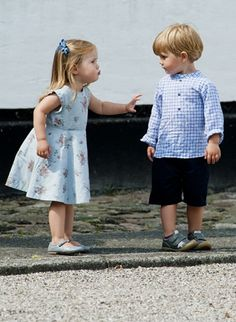 Princess Josephine and Prince Vincent during the annual summer photocall for the Royal Danish family at Gråsten Castle on July 26th 2013