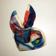 Lets get some silk fashion out there! Add some wearable art to your outfit this summer.  This is a beautiful square silk scarf, painted in yellow, grey, blue, and white colors.  This will look great on you with any outfit, perfect for everyday wear or an elegant party or wedding.  Size: width: 90 cm = 36 inches height: 90 cm = 36 inches  Materials: Silk: ponge 5.  Washing: I recommend to wash this scarf hand only, although you can use the washing machine with the softest setting. Us...