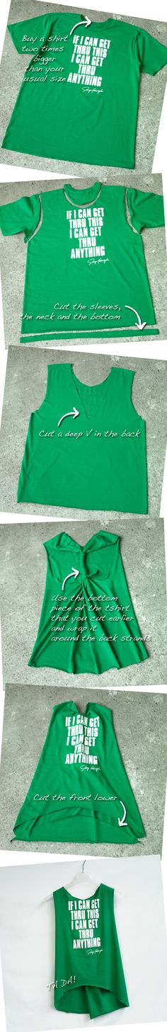 Customize a teeshirt into a sweet tank! Love it...we could make these in dorms