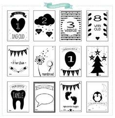20 Mijlpaal kaarten in A6 formaat om verschillende bijzondere momenten vast te leggen tijdens het eerste jaar van je kindje.