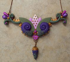 Lauren Abrams POLYMER CLAY NECKLACE  One of a kind large necklace made with polymer clay...