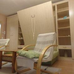 Komplett szekrénysor egy velence-tavi apartman egyetlen szobájába. Benne van minden aminek benne kell lennie...:) -Egy mozdulattal válik a tér éjszakára hálószobává. Közvetlenül a gyártótól- közel 20 éves tapasztalat és referenciával. Nagyfokú forma, szín és méret választék. Minden, Armchair, Furniture, Home Decor, Sofa Chair, Single Sofa, Armchairs, Home Furnishings, Interior Design