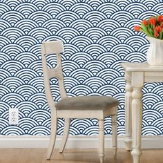 Removable wallpaper in scalloped fish scale print in navy PVC free-paper, durable and eco-friendly Self adhesive, just soak in water and Sunroom Furniture, Fish Scales, Free Paper, Order Prints, Dining Chairs, Flooring, Trending Outfits, Navy, Adhesive