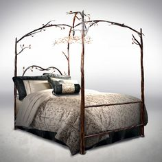 This is my Dream Bed!!! <3  Enchanted Forest Canopy Bed with Chandelier.