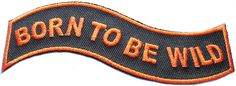 """Amazon.com: [Single Count] Custom and Unique (4"""" x 1"""" Inch) """"Biker"""" Classic Motorcyclist Phrase Bold Born To Be Wild Wavy Textual Edgy Ribbon Iron On Embroidered Applique Patch {Orange & Black Color}"""