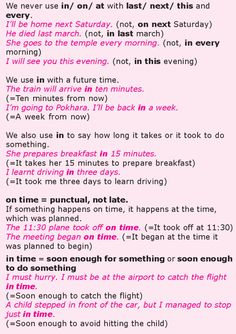 Grade 8 Grammar Lesson 27 At, on and in prepositions of time English Teaching Materials, English Writing Skills, Learning English, Education English, English Lessons, English Class, English Sentences, English Verbs, English Phrases